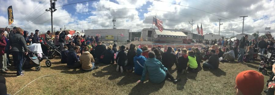 The pig racing course at the Topsfield Fair. During the races, the aAudience fills up every side of the track, and an entire stands of bleachers, too (Oct. 4, 2015).