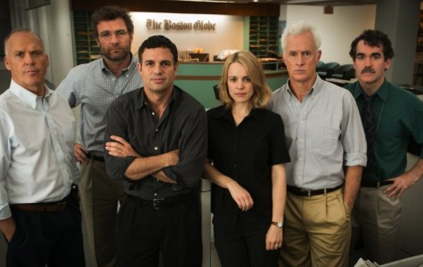 An all-star cast -- (from left) Michael Keaton, Liev Schreiber,Mark Ruffalo, Rachel McAdams, John Slattery, and Brian d'Arcy James -- portray real Boston Globe investigative reporters in