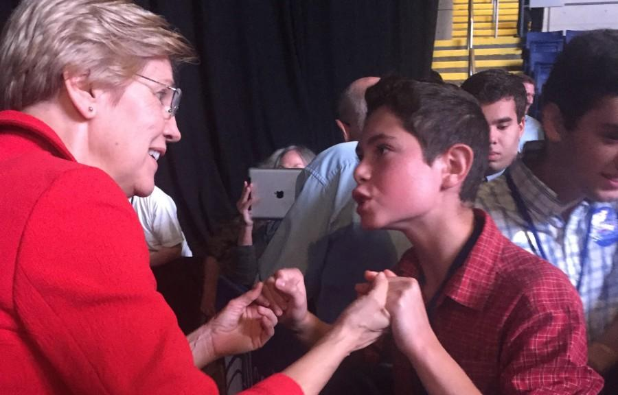 Senator Elizabeth Warren (left) was able to get in touch with people of all ages at the state Democratic Convention in Springfield on Sept. 19, 2015.