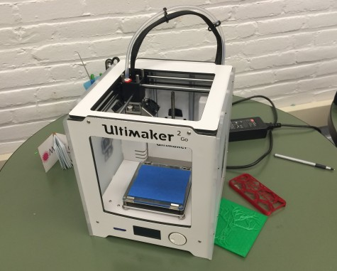The 3D printer is one of the pieces of equipment in the new Fab Lab in the Watertown High School library.