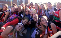 Members of the Watertown field hockey team celebrate after winning the MIAA Division 2  state championship on Saturday, Nov. 21, 2015, in Worcester.