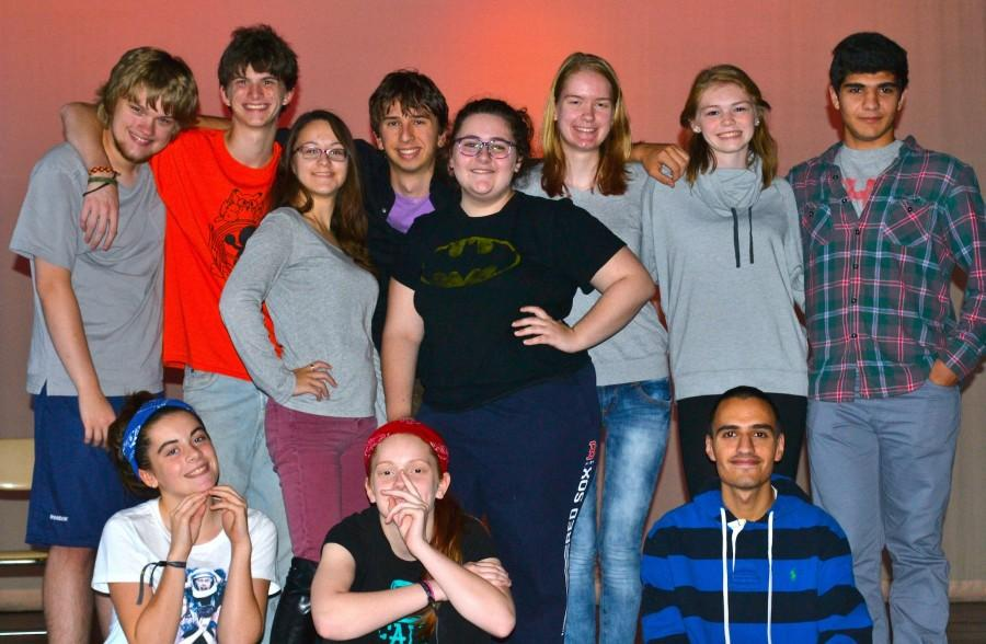 The+student+cast+of+%E2%80%9CAll+In+The+Timing%E2%80%9D+takes+a+break+from+rehearsal+to+pose.+The+show+will+be+performed+at+Watertown+High+School+on+Nov.+5-6+at+7%3A30+p.m.