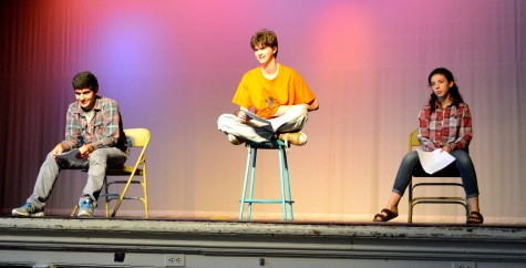 """Cris Patvakanian (left), Tristan Underwood (center), and Zoe Grodsky rehearse """"All In The Timing"""". The show will be performed at Watertown High School on Nov. 5-6 at 7:30 p.m."""