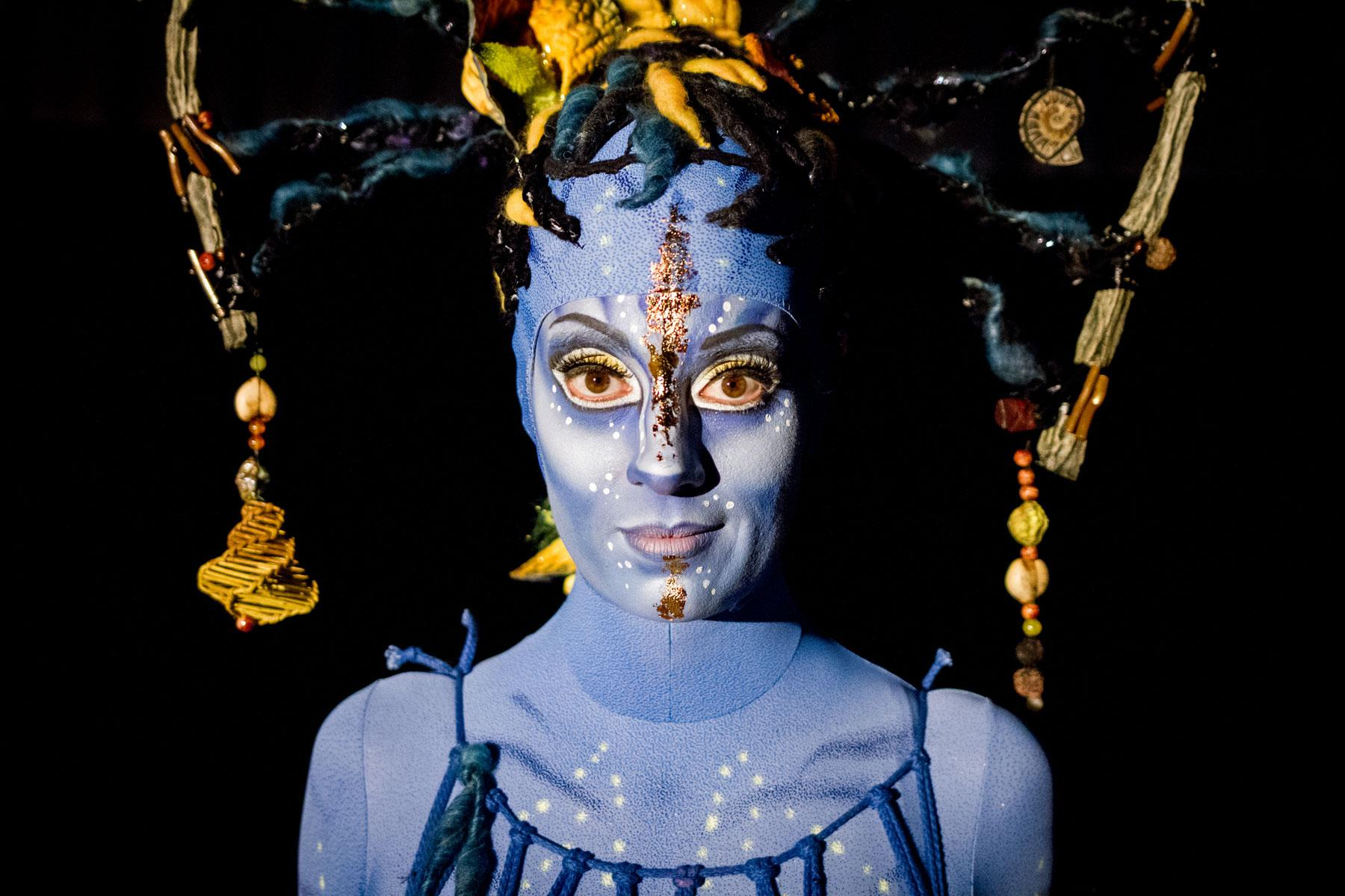 A closeup of the intricate makeup and design worn by the performers in Cirque du Soleil's new production,