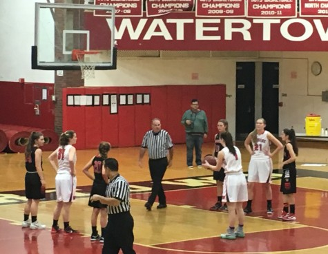 Felicia Korte at the foul line at Watertown's home opener against Winchester on Dec. 18, 2015.
