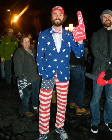 It was a colorful scene outside Donald Trump's post-election party at Executive Court Banquet Facility in Manchester, N.H., on Feb. 9, 2016, following the New Hampshire primary.