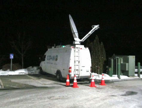 C-Span's satellite truck was the only one broadcasting outside presidential candidate Carly Fiorina party at Derryfield Country Club in Manchester, N.H., on Feb. 9, 2016, following the New Hampshire primary.