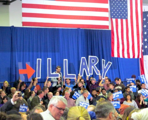 Supporters for Hillary Clinton at Southern New Hampshire University show their support before the presidential candidate spoke at her post-election party following the New Hampshire primary on Feb. 9, 2016.