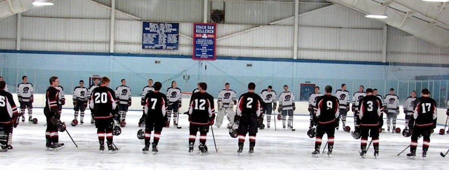 The Watertown and Belmont hockey teams take part in the opening ceremonies at Skip Viglirolo Skating Rink in Belmont prior to their game on Jan. 27, 2016.