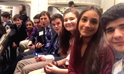 Members of the Watertown High delegation take a group selfie while at the 2016 Boston Invitational Model United Nations Conference at the Park Plaza Hotel.