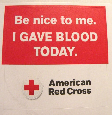 Everyone who donated during the Red Cross blood drive at Watertown High gym on Thursday, March 17, 2016, received a sticker.