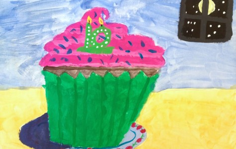 A cupcake by Hosmer Elementary third-grader Cammy Farrar, a work inspired by a lesson on Wayne Thiebaud and one that will be included in the 2016 Watertown public schools art show that will run from April 1 to April 26 at Watertown Mall.