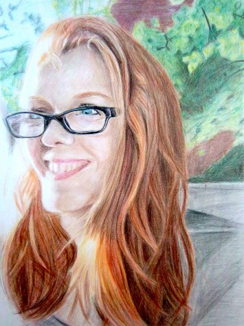 """Portrait of Fiona"" a work in colored pencil by Watertown High senior Julia Harrington, which was awarded a Gold Key in the 2016 Massachusetts Scholastic Art Awards and will be included in the 2016 Watertown public schools art show at Watertown Mall from April 1 to April 26."