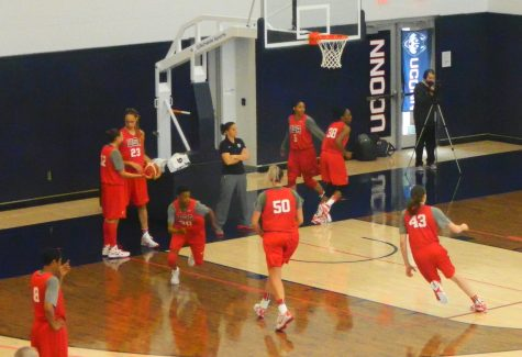 Breanna Stewart (43), Stefanie Dolson (50) and Danielle Robinson (30) are among the US Olympic women's basketball hopefuls running drills during the first day of camp Feb. 21, 2016, on the UConn campus.