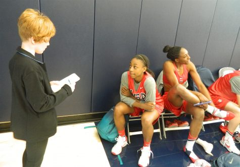 Jewell Loyd answers questions from a student reporter from Watertown, Mass., during the US Olympic women's basketball camp on Feb. 21, 2016, on the UConn campus.