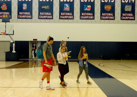 Stefanie Dolson (left) talks with reporters after practice during the US Olympic women's basketball camp at UConn on Feb. 21, 2016.