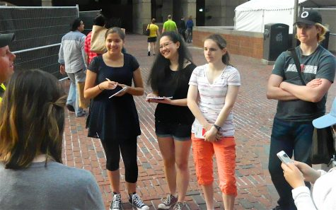 Reporters for Watertown, Mass., interview Mike Snow (far left), organizer of the Boston Calling Music Festival on City Hall Plaza on Thursday, May 26, 2016. Snow was in the middle of his final preparations for the opening of the three-day festival, which was to open Friday night, May 26.