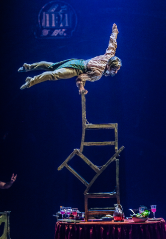 "Upside Down World is one of the many extraordinary acts in Cirque du Soleil's ""Kurios: Cabinet of Curiosities,"" playing through July 10, 2016, at Suffolk Downs in East Boston."