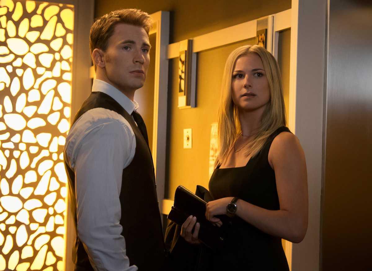 Emily Van Camp (right ) plays Sharon Carter opposite Chris Evans in