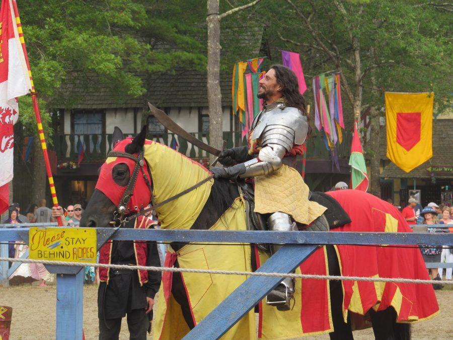 A knight addresses his fans before the joust at King Richard's Faire in Carver, Mass. (Sept. 3, 2016)