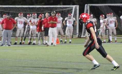 Conor Kennelly lines up a pressure-packed 48-yard field goal for Watertown in the Raiders game against Wakefield on Sept. 23, 2016. Kennelly's kick was good, forcing overtime, 17-17.