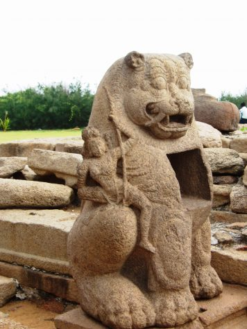 A cat carving at Shore Temple in India.