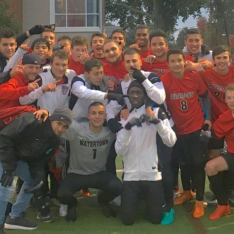 The Watertown High boys' soccer team -- the 2016 Middlesex League Freedom Division champs -- pose after defeating Wakefield to finish the regular season.