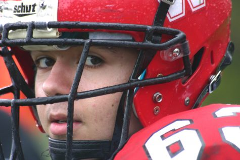 It was impossible for Chris Peterson (63) and the rest of the Raiders to stay dry while beating host Stoneham, 16-8, in overtime on Saturday, Oct. 22, 2016. With the win, Watertown improved to 6-1 and earned a top seed in the MIAA Division 3 North playoffs.