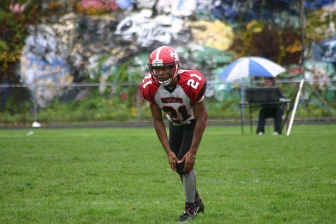 Mange Camara (21) helped Watertown beat host Stoneham, 16-8, in overtime on Saturday, Oct. 22, 2016. With the win, Raiders improved to 6-1 and earned a top seed in the MIAA Division 3 North playoffs.