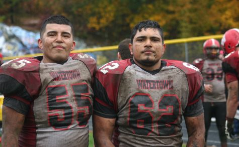 Bryan Canales (55) and Gautam Mannan (62) helped Watertown beat host Stoneham, 16-8, in overtime on Saturday, Oct. 22, 2016. With the win, Raiders improved to 6-1 and earned a top seed in the MIAA Division 3 North playoffs.