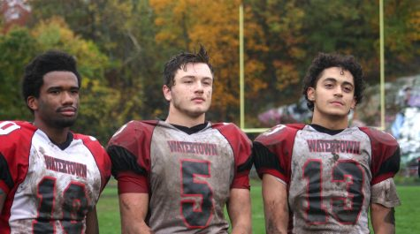 Cyril Brutus (10), Isaac Huff (5), and Yoseph Hamad (13) helped Watertown beat host Stoneham, 16-8, in overtime on Saturday, Oct. 22, 2016. With the win, Raiders improved to 6-1 and earned a top seed in the MIAA Division 3 North playoffs.