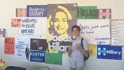 The author poses at the Nashua, N.H., office for the Hillary Clinton campaign.