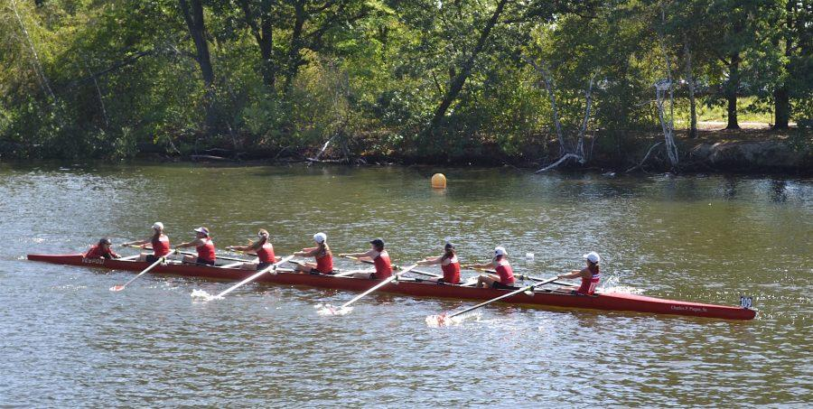 The+novice+girls+competitive+team+from+Community+Rowing+Inc.+gets+its+work+in+on+the+Charles+River.