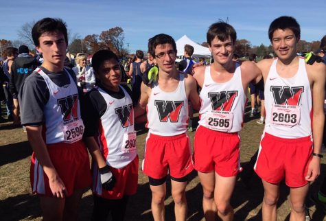 The Watertown High boys' cross-country team poses after the Division 5 race at the MIAA Divisional Cross-Country Championships at Wrentham Development Center Nov. 12, 2016.