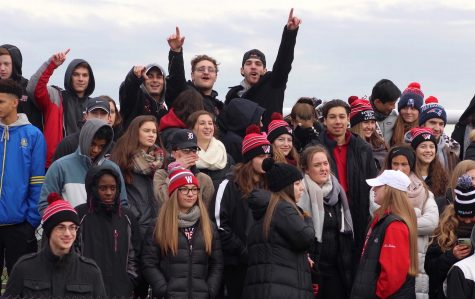 Raiders fans enjoy themselves as Watertown defeated host Belmont, 34-28, in their annual Thanksgiving game on Nov. 24, 2016.