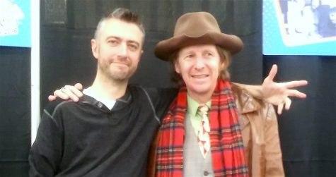 "Sean Gunn of ""Guardians of the Galaxy"" (left) and Lew Temple of ""The Walking Dead"" take a moment to pose for fans during the Northeast Comic Con at Shriners Auditorium in Wilmington, Mass., on Dec. 3, 2016."