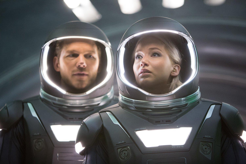 Chris Pratt (left) and Jennifer Lawrence star in