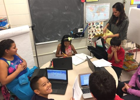 Helda Shirinian (standing) leads the STAR program for ELL students three times a week after school at Cunniff Elementary in Watertown, Mass.