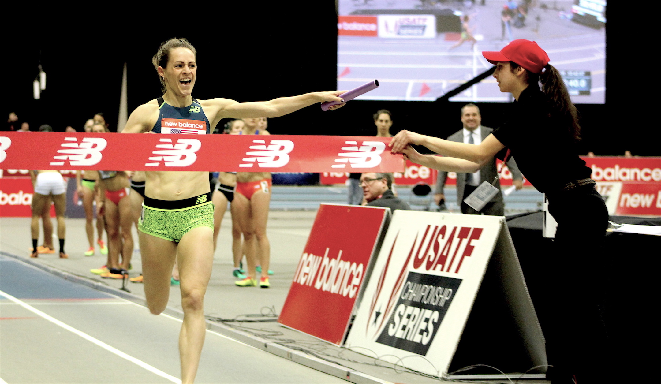 Jenny Simpson completes the mile portion of the distance medley relay for a world record during the New Balance Indoor Grand Prix at Reggie Lewis Track Center on Jan. 28, 2017.