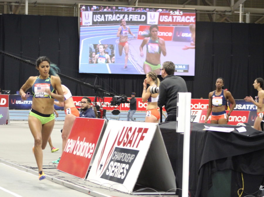 Brenda Martinez runs the 800 as part of the distance medley relay during the New Balance Indoor Grand Prix at Reggie Lewis Track Center on Jan. 28, 2017.