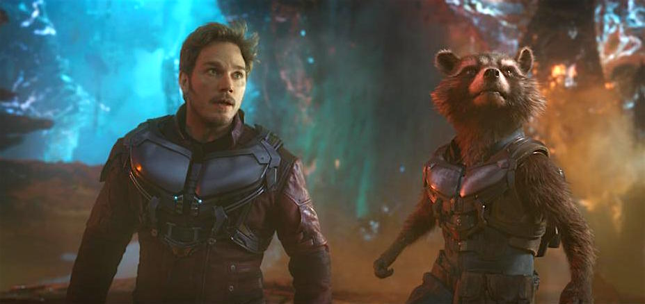 Peter Quill (Chris Pratt) and Rocket (voiced by Bradley Cooper) return for
