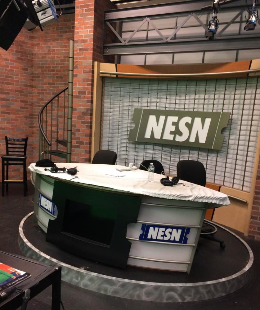 An empty NESN studio in the Watertown, Mass., production facilities awaits the start of their next show.