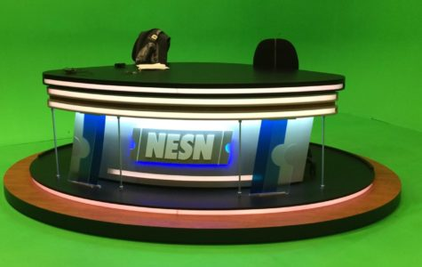 "Studio B, with its green-screen backdrop, is where shows such as ""NESN Sports Today"" are filmed inside the Watertown, Mass., production facilities."