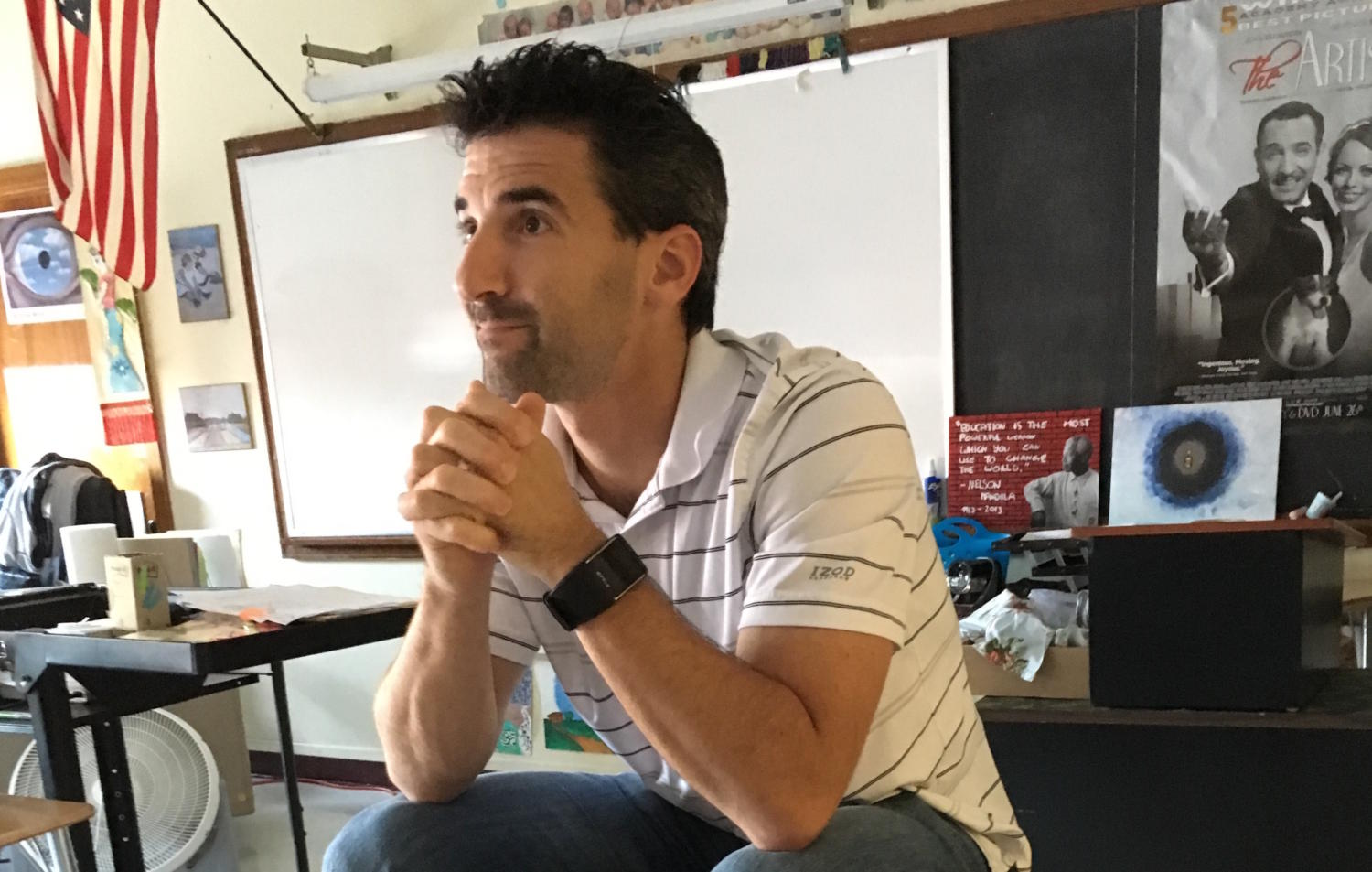 Watertown High teacher Matt Rose talks with Raider Times reporters on Sept. 13, 2017.