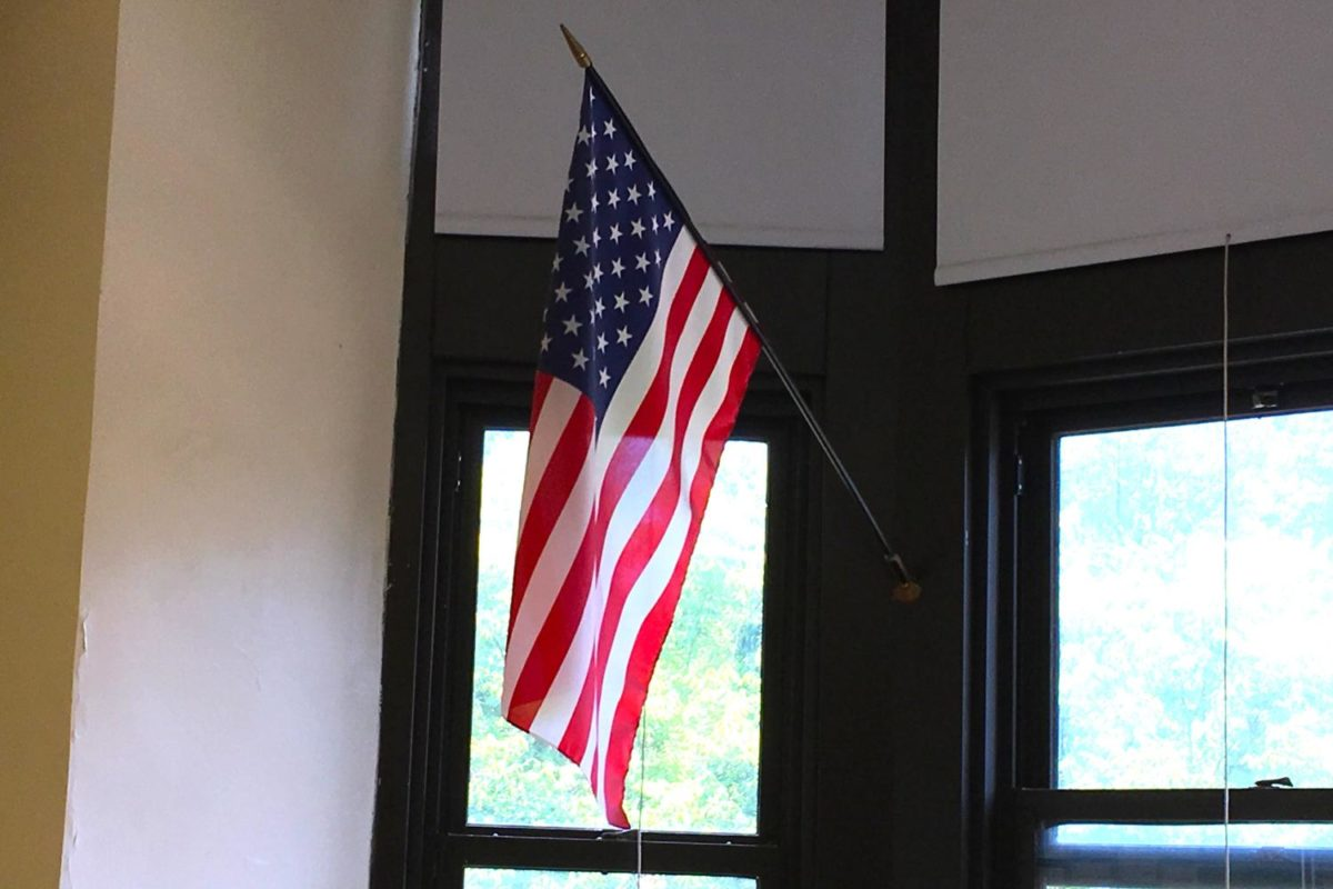 American flags hangs in many of the rooms throughout Watertown High School.