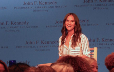 Misty Copeland, principal dancer for the American Ballet Theatre, listens to a question from the audience at the John F. Kennedy Presidential Library and Museum on Aug. 28, 2017.
