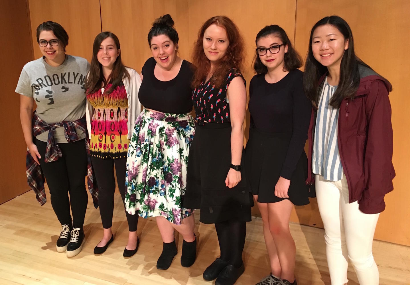 Singer Mary Lambert (third from left) poses with student reporters after a recent interview at Framingham State University. Her 14-city Everybody is a Babe tour will come to Sonia in Cambridge on Nov. 15, 2017.