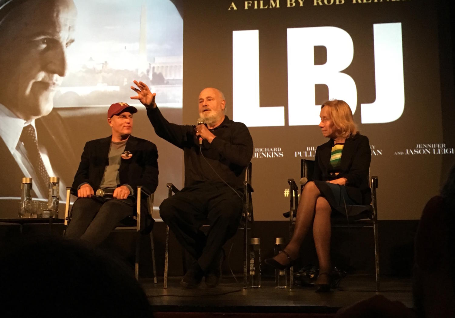 Woody Harrelson (left), Rob Reiner (center), and Doris Kearns Goodwin answer questions from the audience after a screening of