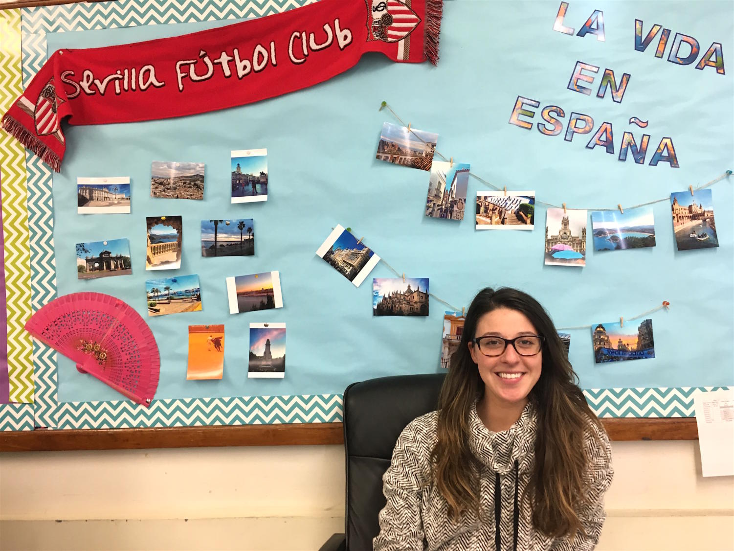 Hallie Lutz sits in her new Spanish classroom at Watertown High School.