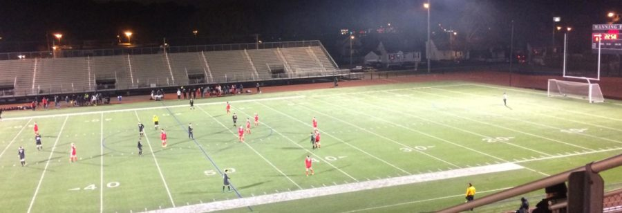 Watertown (in black) and Melrose play for the MIAA Division 3 North boys' soccer title Sunday night, Nov. 12, 2017, at Manning Field in Lynn. Watertown won the battle of Middlesex League rivals, 2-0.